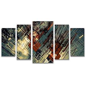 Tela Canvas para Sala, Escritório e Quarto 5 Peças Estrutural Abstrato