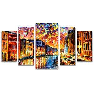 Tela Canvas para Sala, Escritório e Quarto 5 Peças Veneza - Leonid Afremov