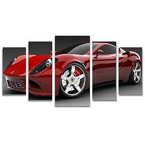 Tela Canvas para Sala, Escritório e Quarto 5 Peças Ferrari - Carros e Motos
