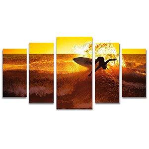Tela Canvas para Sala, Escritório e Quarto 5 Peças Surf