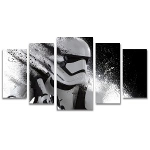 Tela Canvas para Sala, Escritório e Quarto 5 Peças Storm Trooper - Star Wars