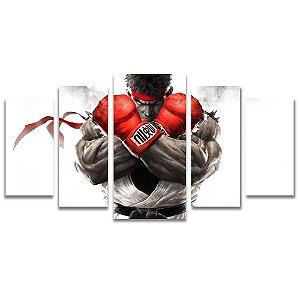Tela Canvas para Sala, Escritório e Quarto 5 Peças Ryu - Street Fighter