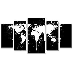 Tela Canvas para Sala, Escritório e Quarto 5 Peças Mapa Mundi