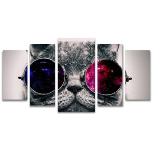 Tela Canvas para Sala, Escritório e Quarto 5 Peças Gato de Óculos
