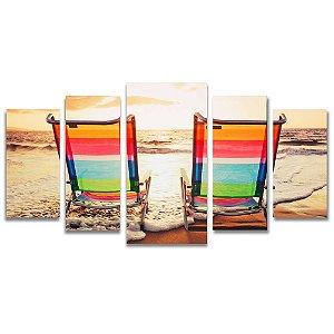 Tela Canvas para Sala, Escritório e Quarto 5 Peças Na Beira da Praia - Pôr do Sol