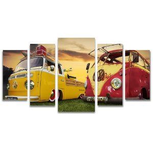 Tela Canvas para Sala, Escritório e Quarto 5 Peças Kombi Vintage - Amarela e Vermelha