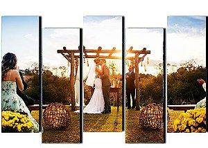 Tela Canvas Personalizada Retangular com Fotos de Casamento Momentos Especiais