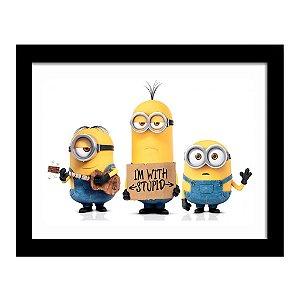 Quadro Decorativo para Quarto Infantil Minions I'm With Stupid