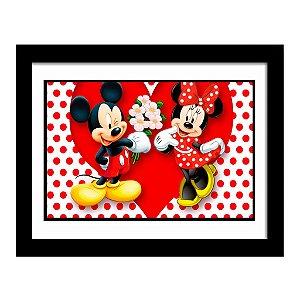 Quadro Decorativo para Quarto Infantil Mickey e Minnie Coração Disney