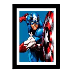 Quadro Decorativo Super Heróis para Quarto - Os Vingadores - Capitão América - Marvel