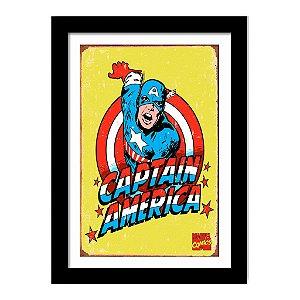 Quadro Decorativo Super Heróis Os Vingadores - Capitão América Vintage  - Marvel