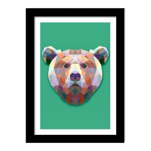 Quadro Decorativo para Sala de Estar em MDF Urso Geométrico