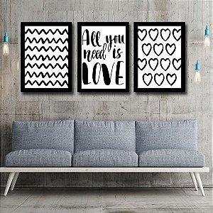 Kit Quadro Decorativo para Sala de Estar All You Need Is Love 3 Peças - Corações