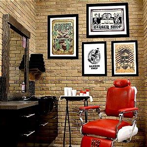 Kit Quadro Decorativo para Barbearia Coleção Barber Shop 4 Peças - O Barba