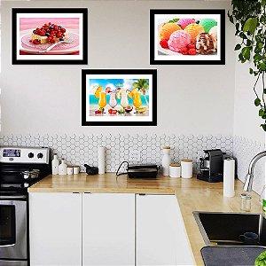 Kit Quadro Decorativo para Cozinha Sobremesas e Drinks 3 Peças - Gourmet