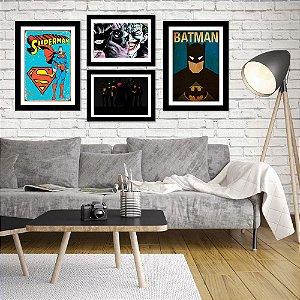Kit Quadro Decorativo para Sala de Estar Liga da Justiça 4 Peças - Super-Heróis