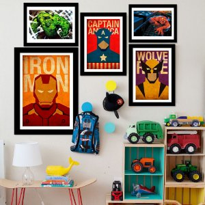 Kit Quadro Decorativo para Quarto Os Vingadores 5 Peças - Super-Heróis