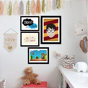 Kit Quadro Decorativo para Quarto Infantil Frases e Games 4 Peças - Famosos