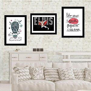 Kit Quadro Decorativo para Sala Elvis+Love Is The Air 3 Peças - Frases e Música