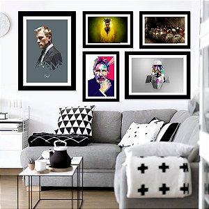 Kit Quadro Decorativo 007+300+Breaking Bad+Star Wars+Harrison Ford 5 Peças Filmes e Séries