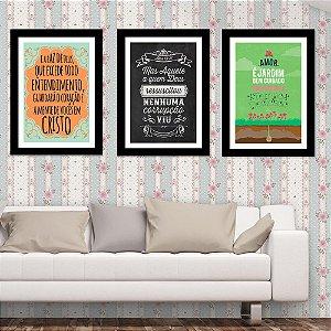 Kit Quadro Decorativo para Sala de Estar Cristo+Deus+Amor 3 Peças - Frases Gospel