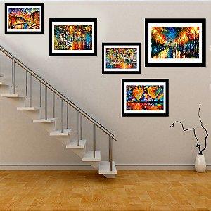Kit Quadro Decorativo para Área Social Coleção de Artes 5 Peças - Leonid Afremov
