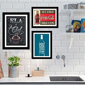 Kit Quadro Decorativo para Cozinha Ela+Chef+Drink+Not To Ice Cold 3 Peças - Coca Cola