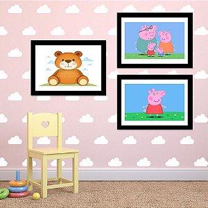 Kit Quadro Decorativo para Quarto Infantil Urso Ted+Pepa Pig 3 Peças