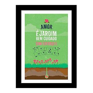 Quadro Decorativo para Sala de Estar em MDF Frases - Amor é Jardim Bem Cuidado