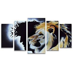 Tela Canvas Decorativa para Sala de Estar 5 Peças Leão de Judá