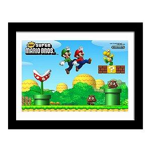 Quadro Decorativo para Quarto em MDF Nitendo DS - Super Mario Bros