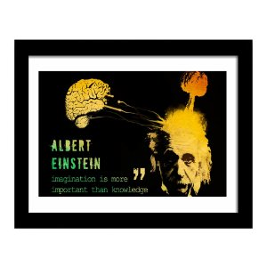 "Quadro Decorativo para Sala de Estar em MDF Frases - Imagination Is More ""Albert Einsten"""