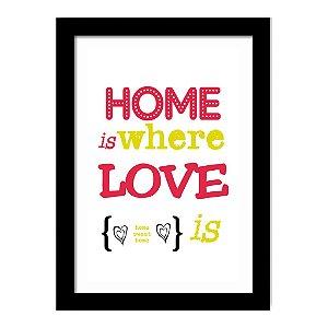 Quadro Decorativo para Sala de Estar em MDF Frases - Home Is Where Love