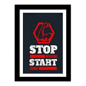 Quadro Decorativo para Sala de Estar em MDF Frases - Stop Wishing Start Doing