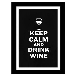Quadro Decorativo para Sala de Estar em MDF Frases - Keep Calm And Drink Wine