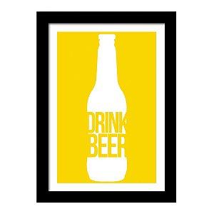 Quadro Decorativo para Sala de Estar em MDF Frases - Drink Beer