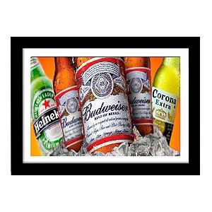 Quadro Decorativo para Sala de Estar em MDF Budweiser, Heinekein e Corona