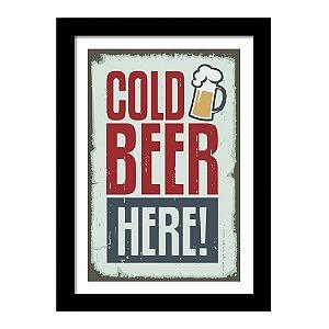 Quadro Decorativo Vintage para Cozinha em MDF Cold Beer Here