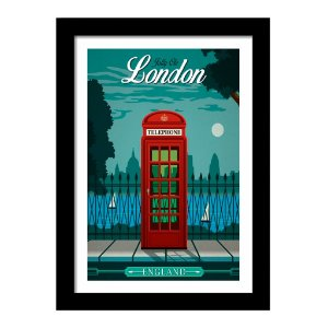 Quadro Decorativo Vintage para Sala de Estar em MDF Jolly Ole London Telephone