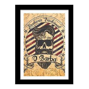 Quadro Decorativo Vintage para Barbearia em MDF O Barba