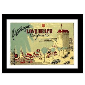 Quadro Decorativo Vintage para Quarto em MDF Long Beach California