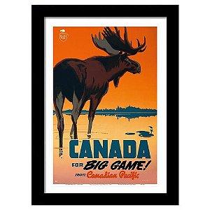 Quadro Decorativo Vintage para Sala em MDF Canada Big Game
