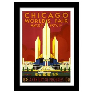 Quadro Decorativo Vintage para Sala em MDF Chicago Worlds Fair