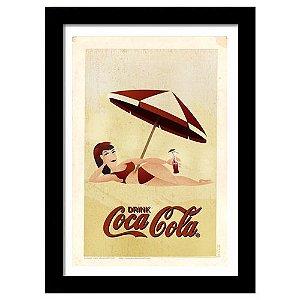 Quadro Decorativo Vintage para Cozinha em MDF Coca-Cola Drink Pinup
