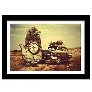 Quadro Decorativo Vintage para Sala em MDF Relógio de Mão, Papagaio, Carro - Salvador Dali