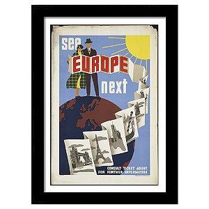Quadro Decorativo Vintage para Sala e Escritório em MDF See Europe Next