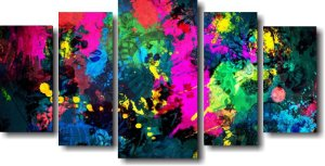 Tela Canvas para Sala 5 Peças Losango Multicolor - Abstrato