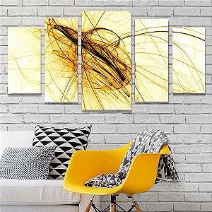 Tela Canvas para Sala 5 Peças Fios de Ouro - Abstrato