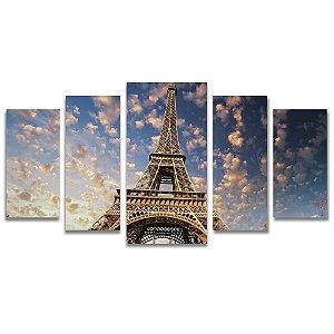 Tela Canvas para Sala 5 Peças Torre Eiffel Nuvens - Corporativo