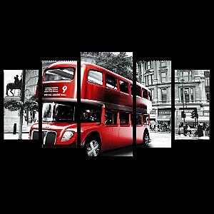 Tela Canvas para Sala 5 Peças London Bus - Corporativo